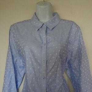 Chico's Blue White Polka Dot Blouse Size 3 (XL)